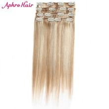 Aphro Hair Clip in Human Hair Extensions Mix Color #18/613 7Pcs/set Clip Ins Non-Remy Peruvian Straight Hair 70 Gram 16-24 inch