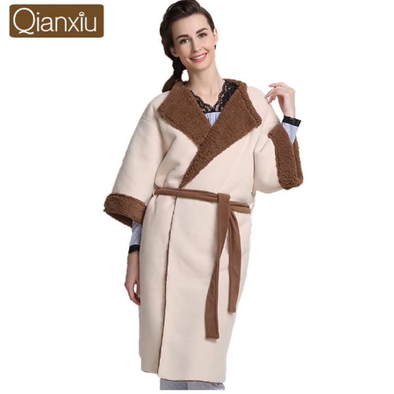 1ccdc2e7f4 2019 Winter Qianxiu Brand Robe Women Cotton Velvet Robes Female Half Sleeve  Plus Size Robe Ladies Warm Fleece Bathrobe with belt-in Robes from  Underwear ...