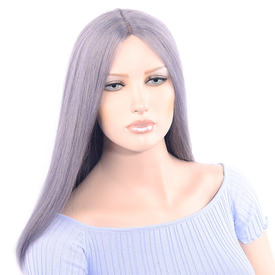 LADYSTAR Straight Remy Human Hair Wigs Middle Part Hand Made Smoke Gery Color Wigs For Women 16inch No Shedding No Tangle