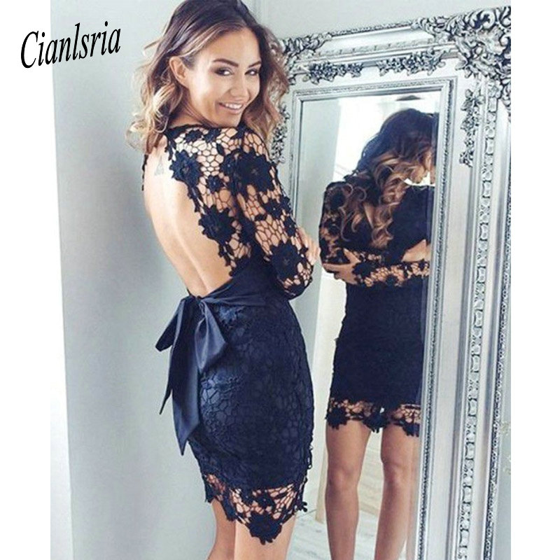 Homecoming Dresses Navy Long Sleeves Lace/Satin Open Back Sash Above-Knee Scoop Neck Neckline/Sheath Cooktail Dresses