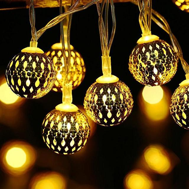 3 2m Battery Operated Globe String Lights 30 Led Moroccan Ball Light