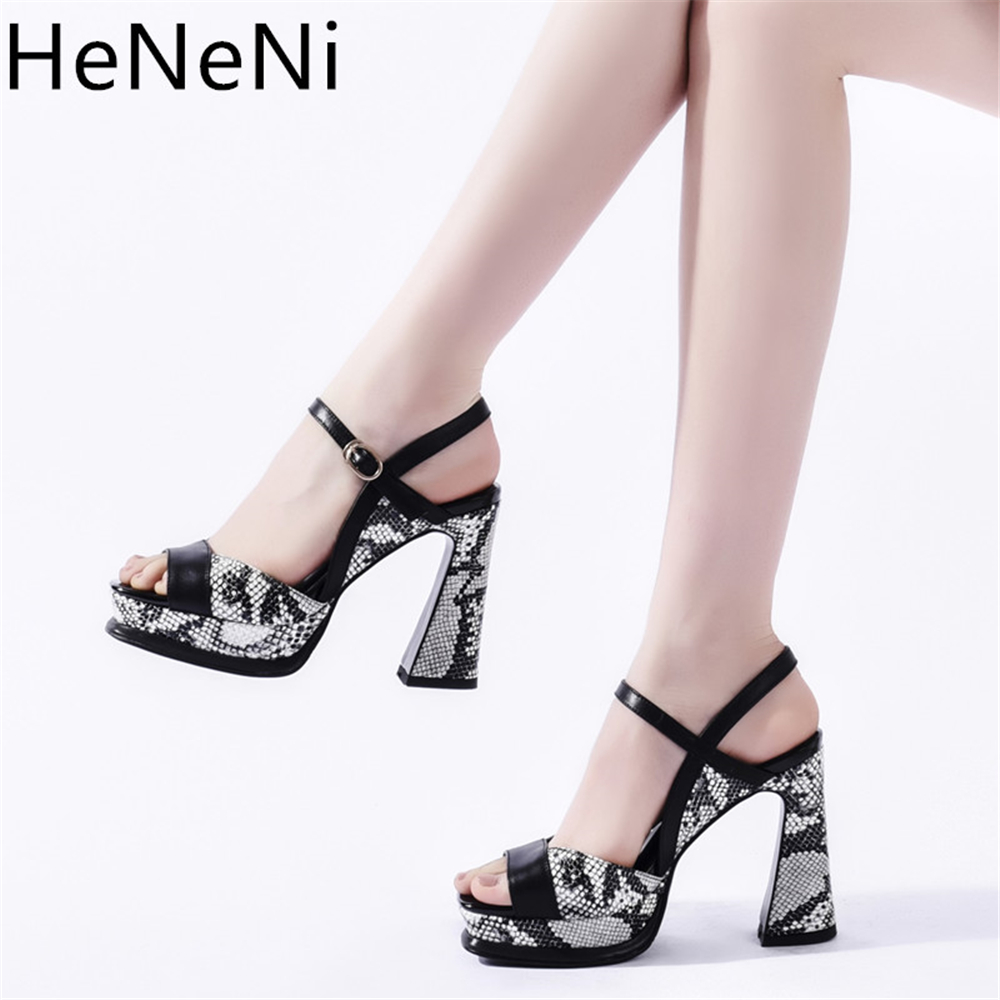 Brand Genuine Leather <font><b>sandals</b></font> <font><b>women</b></font> 11cm <font><b>high</b></font> <font><b>heels</b></font> platform shoes <font><b>pumps</b></font> Snake print <font><b>sexy</b></font> party <font><b>sandals</b></font> woman sandalias mujer image