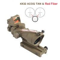 Tan Couleur ACOG 4X32 Fibre Réelle Source Fusil Rouge Lumineux Portée RMR Micro Red Dot Tactique de Chasse de Tir RL6-0058T