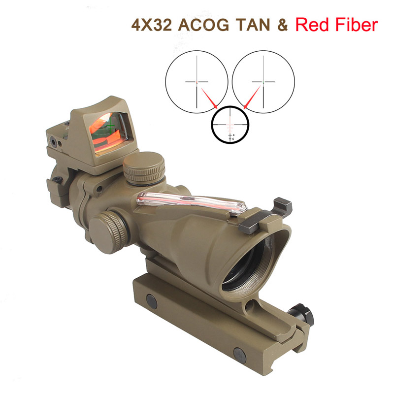 Tan Color ACOG 4X32 Real Fiber Source Red Illuminated Rifle Scope RMR Micro Red Dot Tactical Hunting Riflescope RL6-0058T цены онлайн