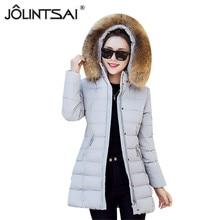Fur Coat Wadded Jacket Female 2017 New Fashion Winter Casual Fur Collar Hooded Jacket Slim Parkas Ladies Coat Plus Size M-XXXL