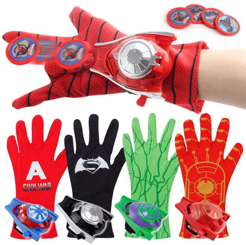 Cosplay Marvel Avengers Super Heroes Gloves Laucher Spiderman Batman  Ironman One Size Glove Gants Props Christmas d3a9fcee8974