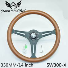 Universal Pure Wooden Steering Wheel Classic 350MM 14inch Car Matte Brown Mahogany Wood 3 Black Spoke SW300-X