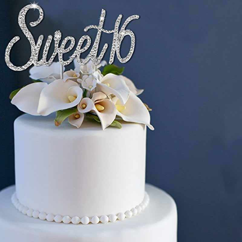 Terrific Rhinestones Sweet 16 Cake Topper Boy Girl 16Th Birthday Party Funny Birthday Cards Online Benoljebrpdamsfinfo