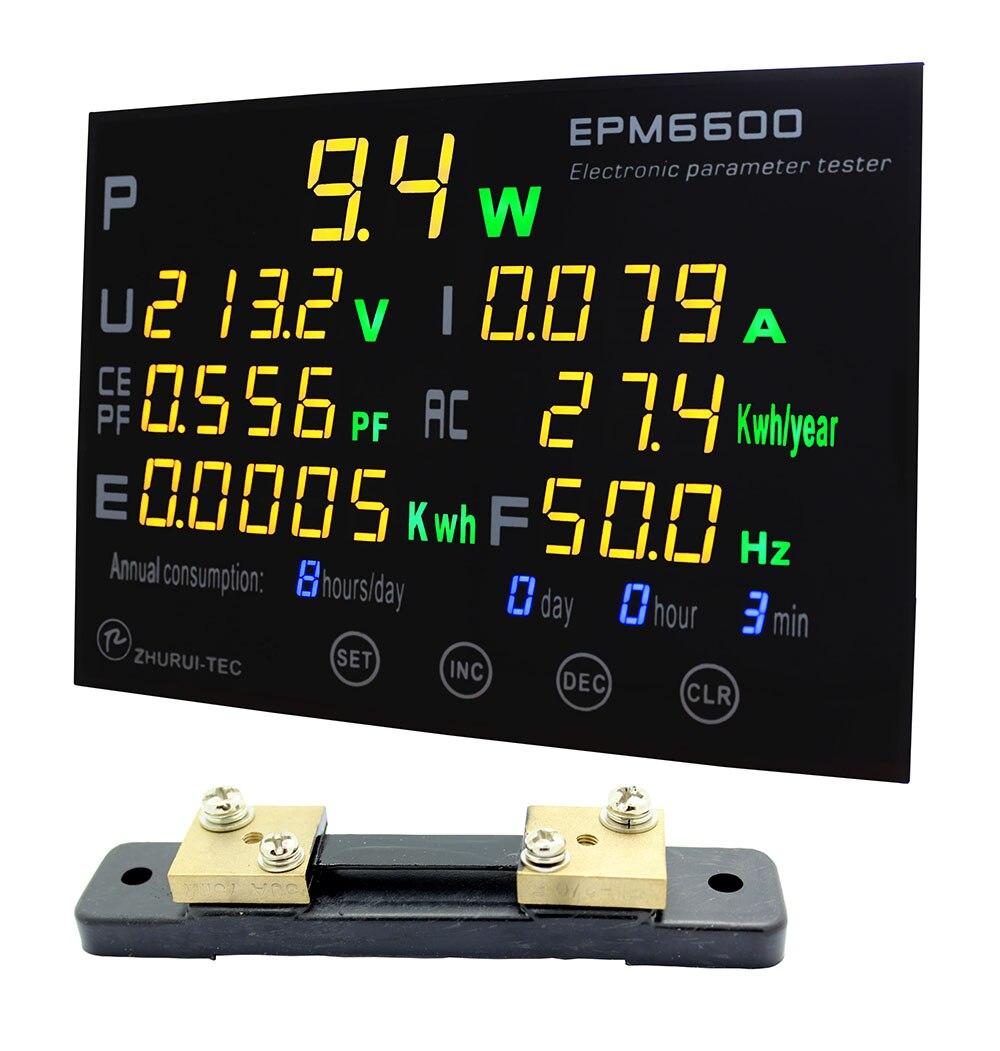 EPM6600/50A/10kw/multifunzione power meter monitor singola fase elettrica AC meterenergy meter/kwh meter