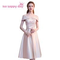 cheap formal sleeved o neckline champagne color bridesmaid dresses bridesmaids dress satin ball gown for wedding guest H4254