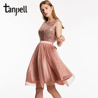 Tanpell Scoop Backless Cocktail Dress Pink Sleeveless Knee Length A Line Gown Cheap Women Sequined Pleats