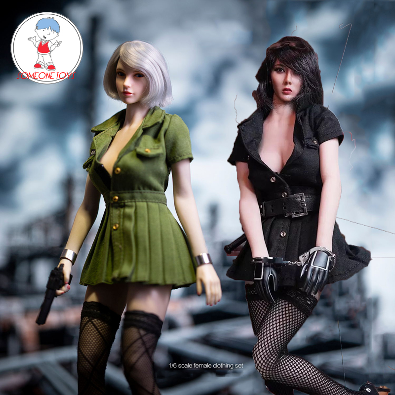 abbc1806f 2 Color 1/6 Escala de policía uniforme traje de falda vestido de medias las  mujeres soldado muñeca ...