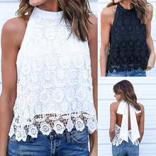 White Lace Women Summer Blouses Shirt Chiffon Crop Tops 2019 New Fashion Sleeveless Ol Black