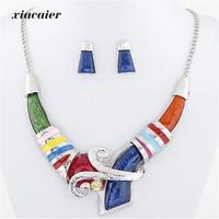 Fashion Simple Geometric Metal Necklace Earrings Jewelry Sets Choker Whosale Women Set Jewelry Accessories Statement Necklace
