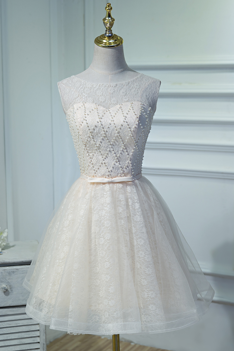 Vestido Cocktail Curto Lace Champagne Beaded Cheap Short Prom ...