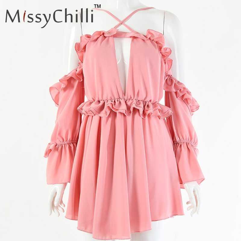 MissyChilli, сексуальное шифоновое желтое платье с открытыми плечами, женское летнее элегантное мини-платье с v-образным вырезом, вечерние платья с рюшами и длинным рукавом-фонариком