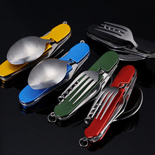 купить 4 in 1 Outdoor Tableware Camping Stainless Steel Folding Knife for Hiking Survival Travel Camping Cutlery Walking tableware по цене 249.47 рублей