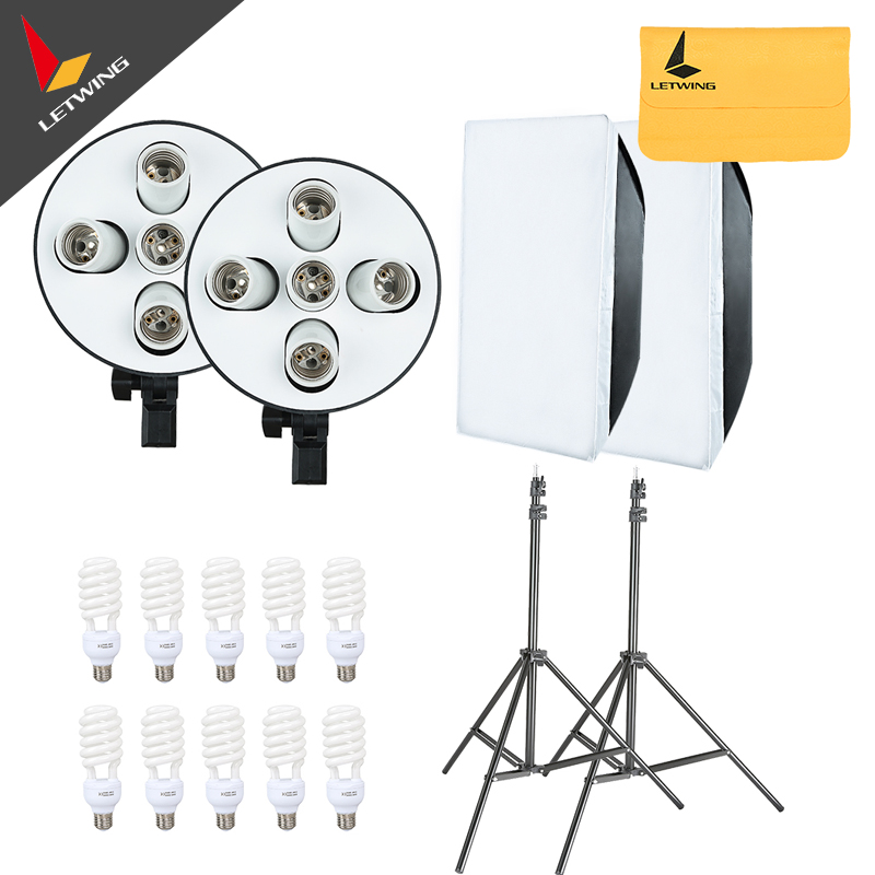 2250W Photo Studio Continuous Lighting 10X45W Bulbs 50*70cm Softboxes Stands Kit Free Shipping Via DHL or EMS 2250w photo studio continuous lighting 10x45w bulbs 50 70cm softboxes stands kit free shipping via dhl or ems