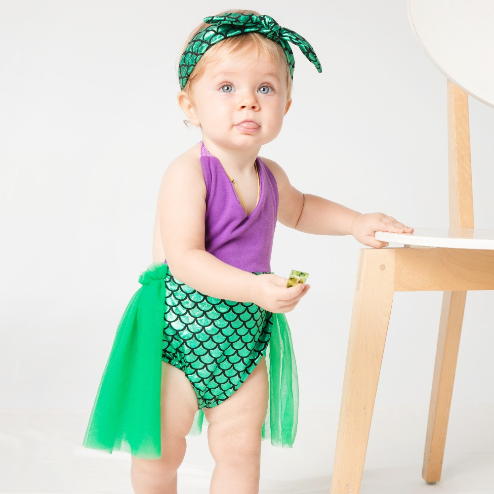 YK&Loving Sequin Little Mermaid Tail Princess Dress Cosplay Halloween Costume Baby Girl Fancy Green Dress New Playsuits Swimming ...