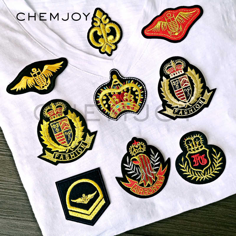 Gold Wings Crown Military Patches Ironing on Repair Stickers Transfers Army  Rank Sewing Appliques for Jackets ebf1d29bd01
