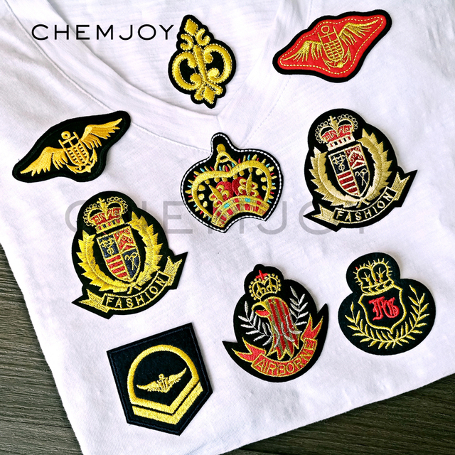 Gold Wings Crown Military Patches Ironing on Repair Stickers Transfers Army  Rank Sewing Appliques for Jackets Hats Uniform Patch 516e29cee16d