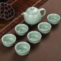 2018 new arrival bule de cerâmica celadon xícara de chá de viagem portátil jogo de chá chinês do kung fu jogo de chá drinkware 1pot + 6 copos|Jogos de chá|Casa e Jardim -