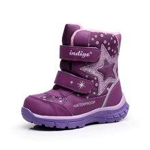 Новинка, 1 пара-20 градусов Снегоступы зимняя одежда с подкладкой из хлопка теплые сапоги, натуральный мех тепловой девушка Обувь, модная детская одежда Обувь