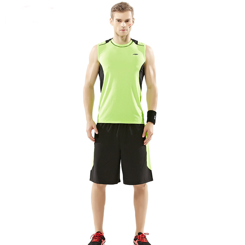 ФОТО Men Cross Training Exercise Clothes Set Gym Fitness Running Track and Field Tank Top and Shorts Suits