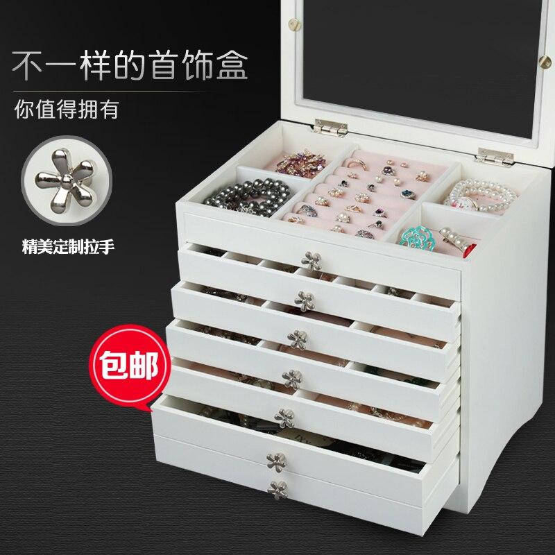 2016 коробка для хранения Организатор Organizador деревянный Корея высокой емкости многослойная принцесса Покрыта Смотреть Цепочки и ожерелья Се