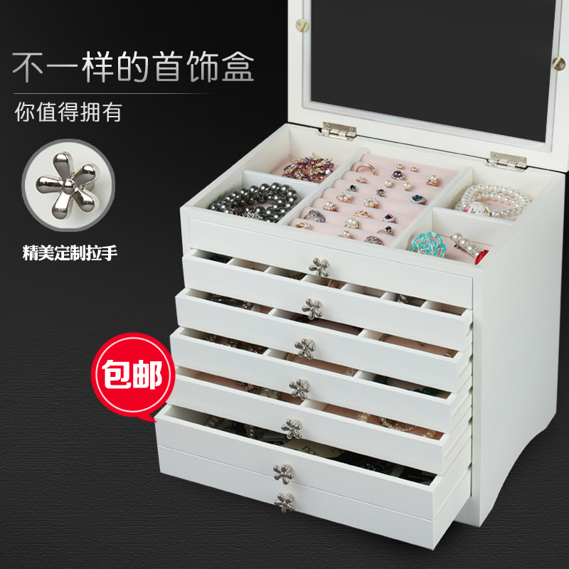 2016 Storage Box Organizer Organizador Wooden Korea High capacity Multi layer Princess Covered Watch Necklace Earrings Cabinets
