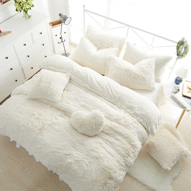 Luxury White Pink Blue Purple Plush Shaggy Warm Thick Fleece Princess Bedding Set Mink Velvet Duvet Cover Bed Skirt Pillowcases
