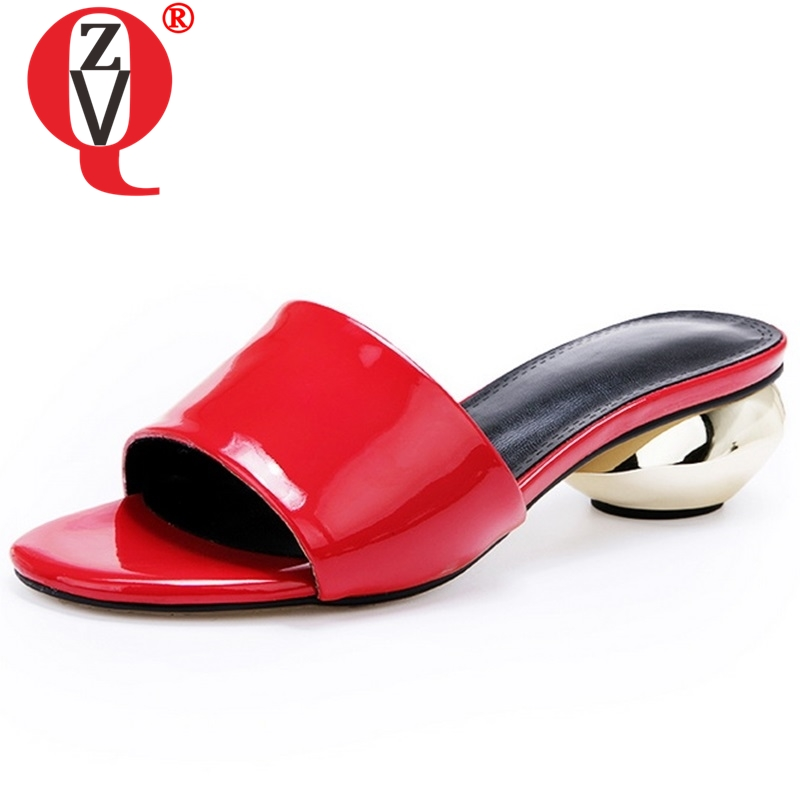 ZVQ women fashion slippers 2019 new style good quality genuine leather upper open toe slides ladies