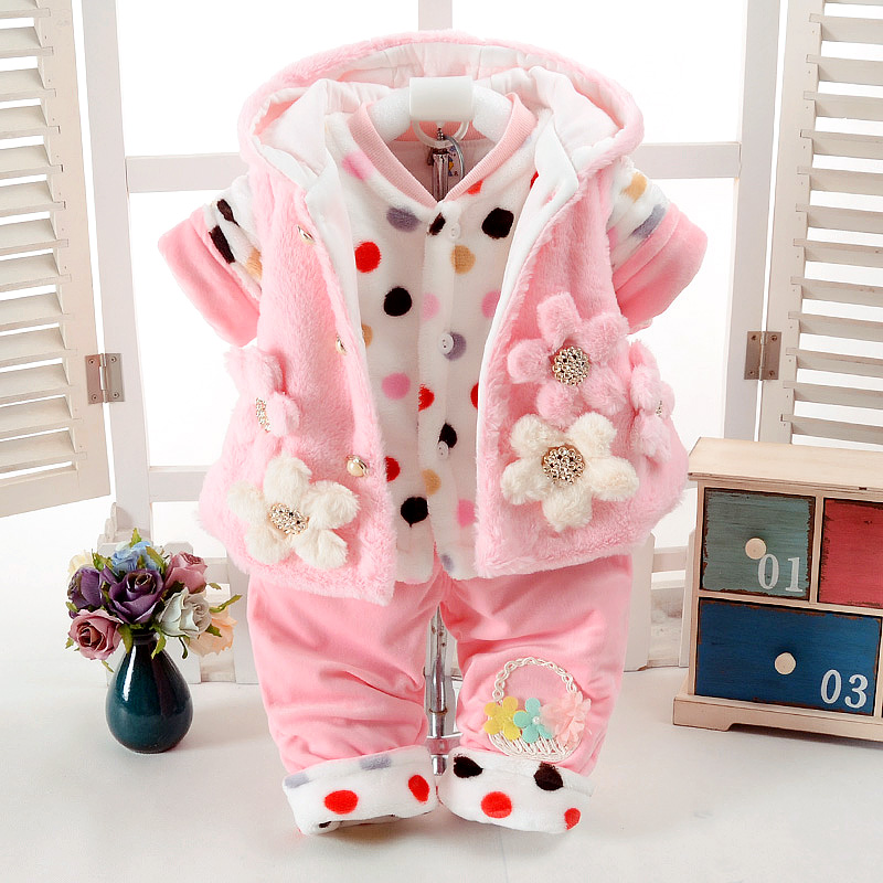 Autumn & Winter Baby Girl Clothes Set Pink Floral Style Add Cotton-Padded Warm 0-2T Newborn Infant Baby 3Pcs/Set Walking Dress 3pcs set newborn infant baby boy girl clothes 2017 summer short sleeve leopard floral romper bodysuit headband shoes outfits