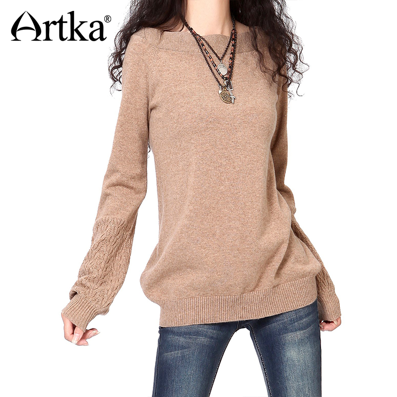 ARTKA Women Pullover 100 Cashmere Sweater Basic Edition Knitwear Slash Neck Jumper Female 2018 Winter Women