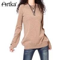 Artka ретро женская осеняя одежда ворот минус с длиным рукавом бежевый удобный приталенный высококачественный элегантный длиный шерстяный с