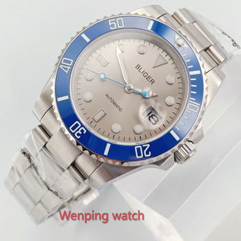 W2588Luxury Bliger Mechanical Watches 40mm sterile Silver Grey dial Ocean Blue Small Second Hand Ceramic Bezel sapphire movement
