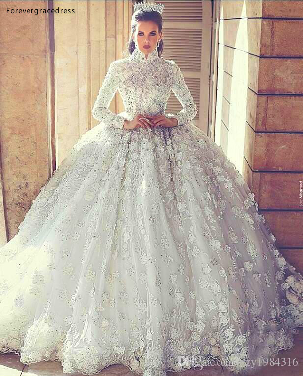 2019 Arabic Muslim Princess Wedding Dress Ball Gown Lace Appliques Church Formal Bride Bridal Gown Plus Size Custom Made