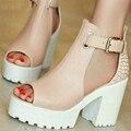 Женская Мода Дамы Летняя Обувь Квадратные Высокие Каблуки ПУ кожа Peep Toe Лоскутные Женщины Насосы Дамы Свадебная Обувь Размер 34-43