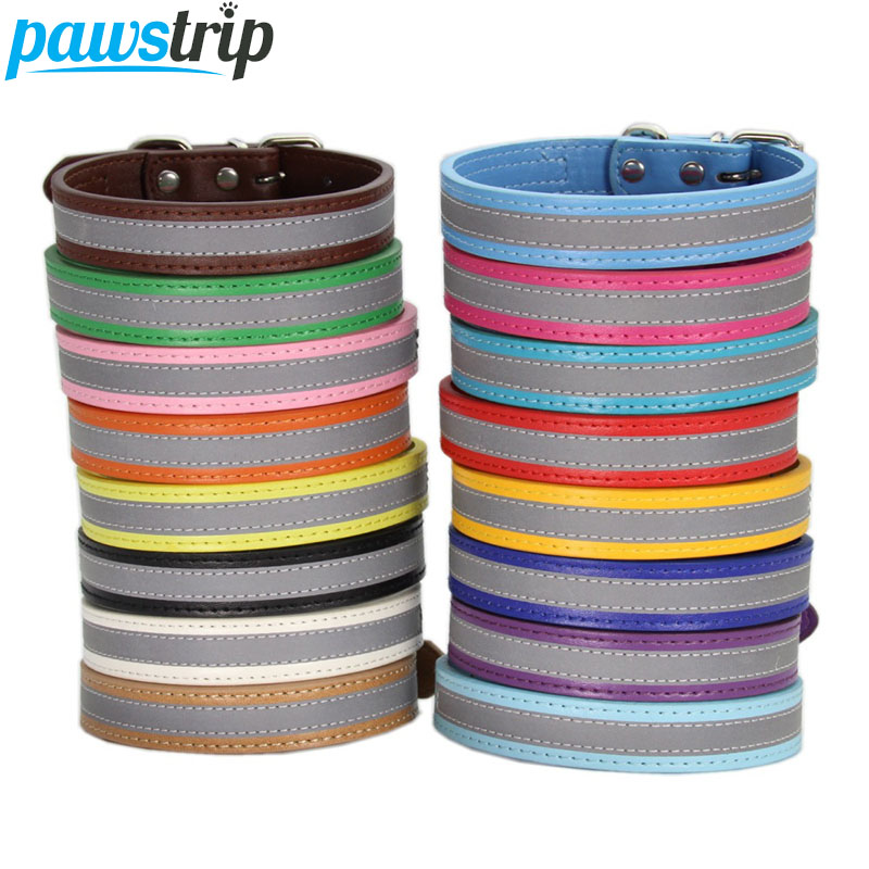 pawstrip 13 Colors Reflective Dog Collar Leather Small Puppy Collar Night Safety font b Pet b