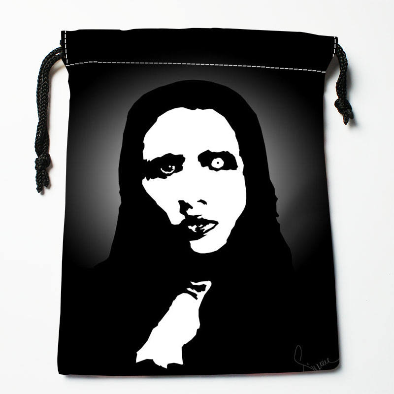 High Quality Custom Marilyn Manson Printing Storage Bag Drawstring Bag Gift Satin Bags 27x35cm Compression Type Bags