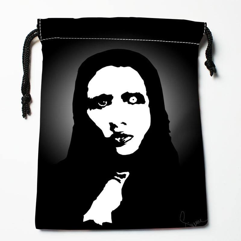 High Quality Custom Marilyn Manson Printing Storage Bag Drawstring Bag Gift Satin Bags 27x35cm Compression Type Bags