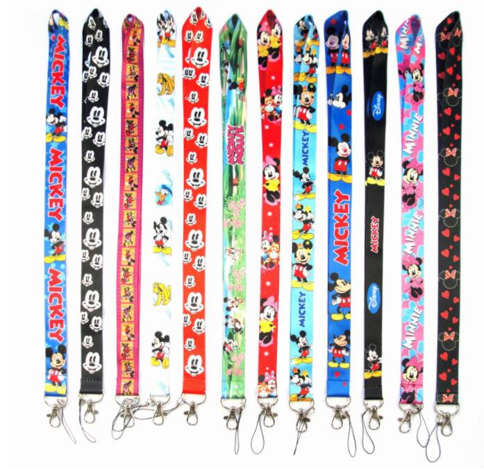 1PCS  Cartoon  Mickey Minnie Neck Strap Card Lanyard Mobile Phone Charms Key Chain ID Badge Key Chains L10