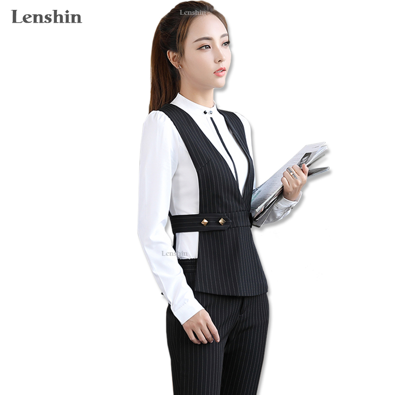 Lenshin 2 Piece Set Adjustable Waist Formal Pant Suit Waistcoat Belt Black Vest Women Sleeveless ...