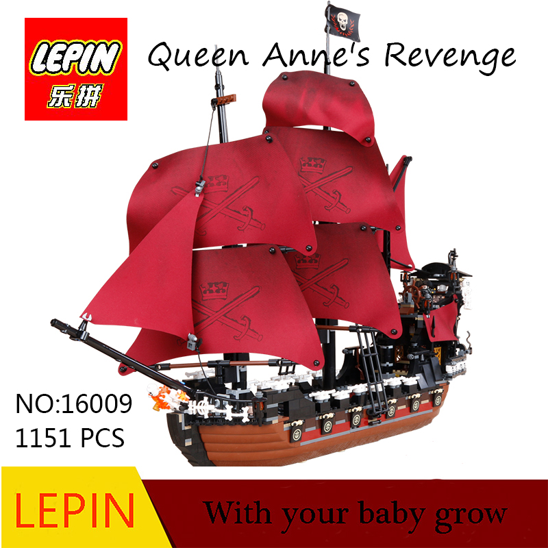 DHL Lepin 16009 1151pcs Queen Anne's revenge Pirates of the Caribbean Building Blocks Set Bricks Compatible 4195 lepin 16009 caribbean blackbeard queen anne s revenge mini bricks set sale pirates of the building blocks toys for kids gift