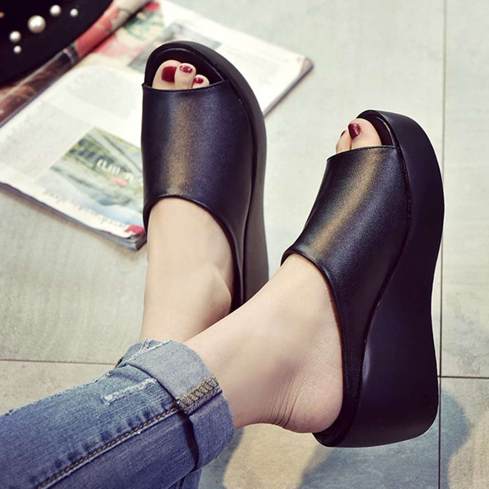 women Sandals 2018 Summer pu Leather Shoes Woman Wedges Fashion Platform Slides Ladies Peep Toe shoes women sandals 2018 summer shoes woman flip flops wedges fashion platform female slides ladies shoes peep toe