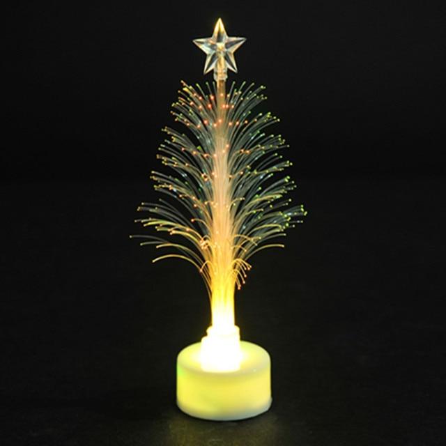 kleurrijke kerst fiber mini miniatuur kerstboom transparante fiber led verlichting kerstversiering
