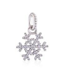 Convient Pandora Charms Bracelets Authentique 925 Sterling Argent Flocon De Neige Perles Charme Balancent Européenne Femmes BRICOLAGE Bijoux De Mode