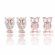 E0141 Fashion Jewelry Rose Gold Color Owl Stud Earrings With Crystal Pearl High Quality Cute Animal Stud Earrings For Women Gift