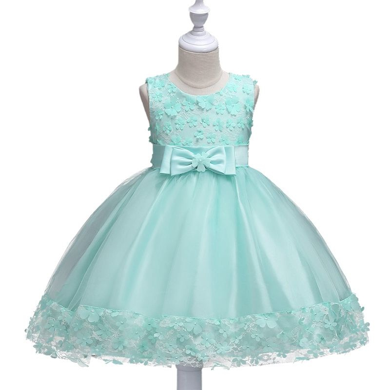 2017 Fashion Girl Dress Floral High-grade princess Dress bow Christmas Party Clothes Sleeveless Free shipping 2-8yrs wear dz677 new fashion high grade party