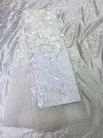 Французский супер качество французский чистая кружева для торжественное платье красивый объемный цветок вышитые кружева ткани с бисером т...